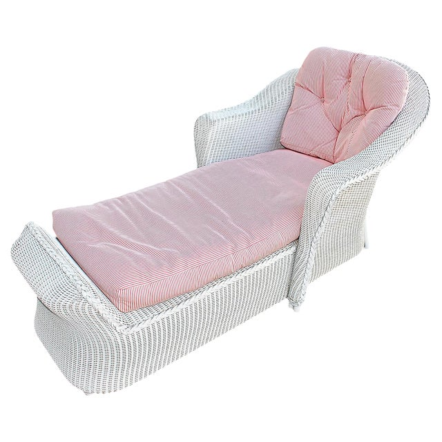 White Wicker Chaise Lounge Chair - Image 1 of 5