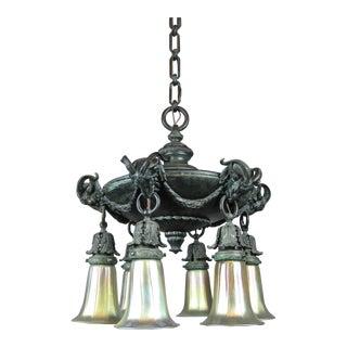"""""""MILLER"""" Figural 'Ram' Verdigris Light Fixture (6-Light)"""