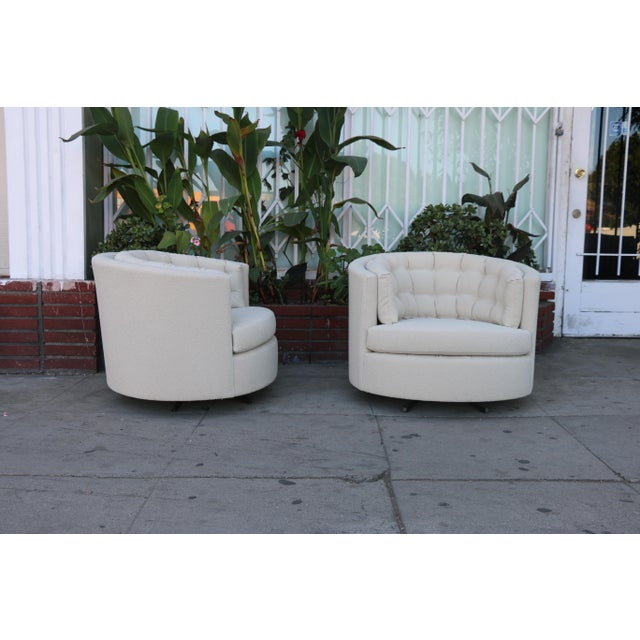 Milo Baughman Style Swivel Chairs - A Pair - Image 3 of 10
