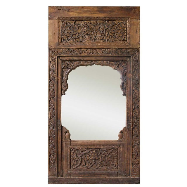 Handcarved Wooden Mirror - Image 1 of 4