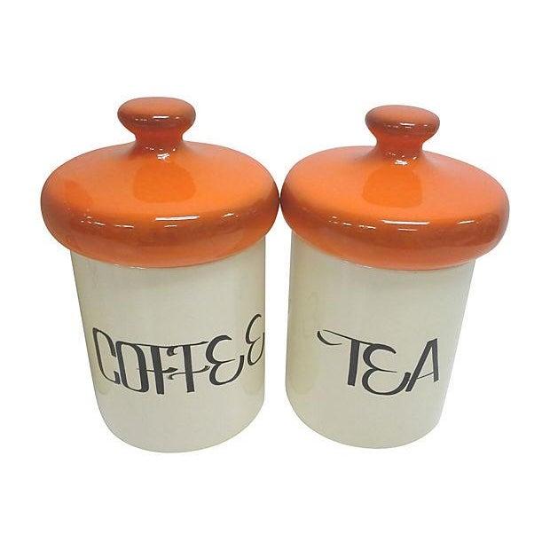 Mid-Century Orange Ceramic Canisters - Set of 4 - Image 3 of 4