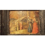 Image of Renaissance Oil on Board Painting of Figures in Front of a Walled City