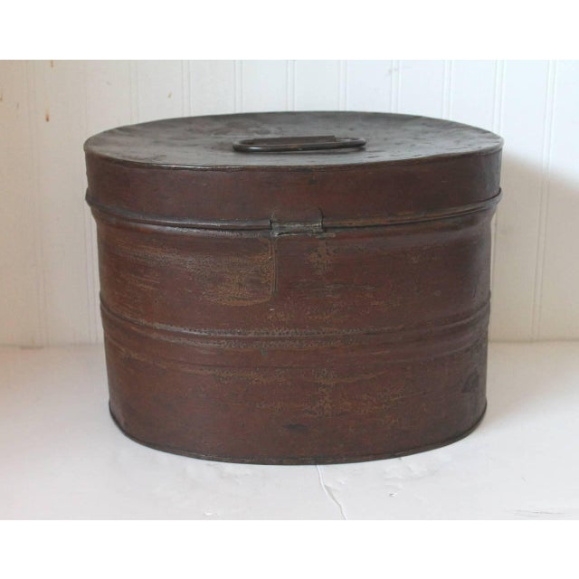 19th Century Original Brown Painted and Distressed Hat Box - Image 7 of 8