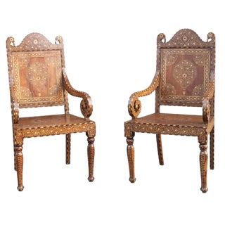 Pair of Bone Inlay Peacock Chairs