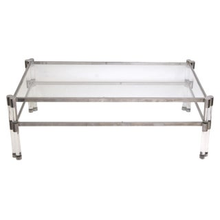 A stylish French 1970's Pierre Vandel glass and Lucite coffee table with nickel plated frame