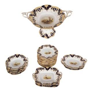 Baroque 27 Piece English Porcelain Dessert/Fruit Set Porcelain with Gilding