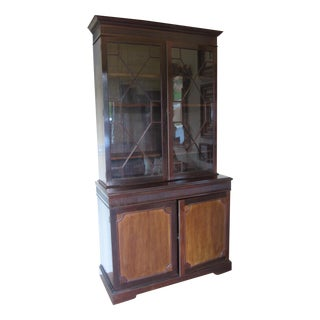 Antique John Barker Glass Paneled Wooden Cabinet