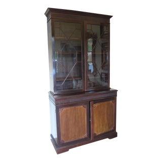 Antique John Barker Glass Paneled Wooden Cabinet