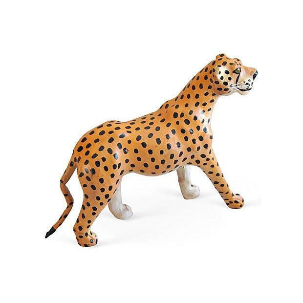 1970s Hand-Painted Leather Cheetah Figurine - Image 4 of 4