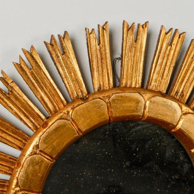 Mid-Century Medium Size Giltwood Sunburst Mirror - Image 7 of 7