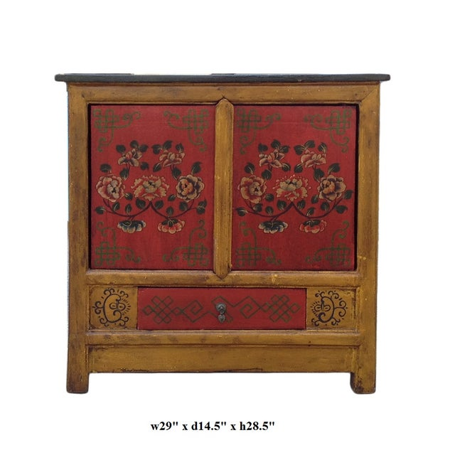 Image of Chinese Yellow Red Floral Graphic Table Cabinet