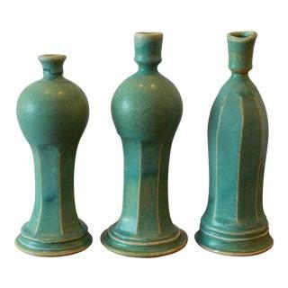 Vintage Hand Carved Porcelain Candlesticks - Set of 3