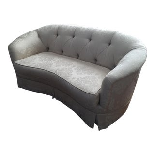 Damask Ivory Fabric Loveseat