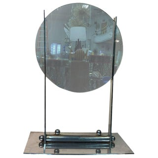 ART DECO ROUND TABLE MIRROR ON A NICKEL BRONZE STAND ATTRIBUTED TO DONALD DESKEY