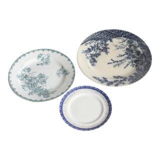 Vintage China Blue Plates - Set of 3