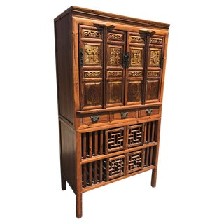 Antique Chinese Carved & Hand Painted Elm Wood Wardrobe