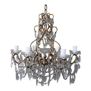 Six-Light Crystal Macaroni Beaded Chandelier