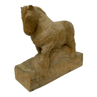 Vintage French Carved Horse Sculpture