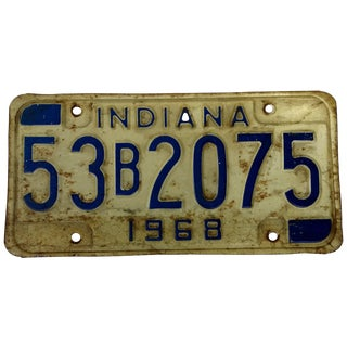 Rustic Mid Century Indiana License Plate 1968