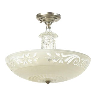 White Glass and Nickel Semiflush Pendant