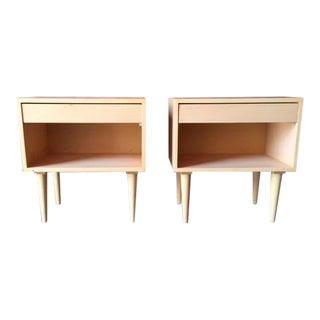 Custom Mid Century Style Maple Pair of Nightstands