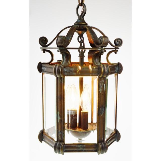 Bronze & Beveled Glass 3 Light Lantern Light Fixture - Image 11 of 11