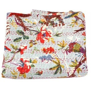Grey Bird Kantha Throw - Queen
