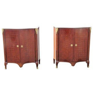 Jansen Style Parquetry Inlaid Marble Top 2-Door Cabinets - A Pair