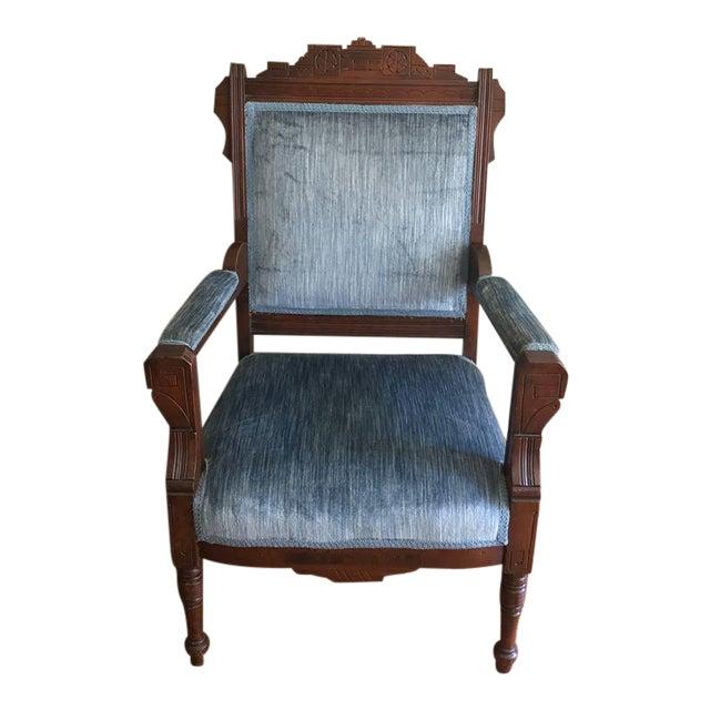Blue Velvet Eastlake Chair - Image 1 of 9