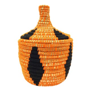 Orange & Black Moroccan Wool Basket