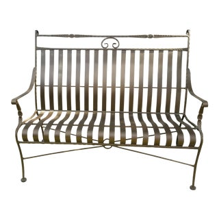 Wrought Iron Mediterranean Bronze Settee