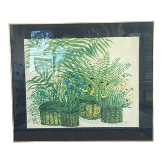 1970's Palm Beach Regency Artist Ida Pellei Botanical Gallery Framed Art