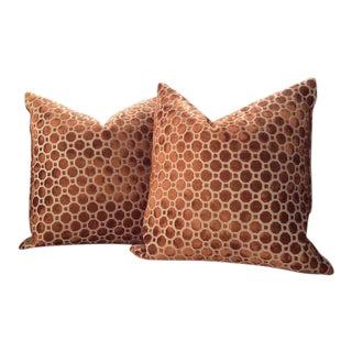 Robert Allen Pillow Covers in Copper Geo Velvet - a Pair