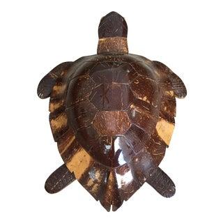 Vintage Bohemian Carved Coconut & Wood Turtle