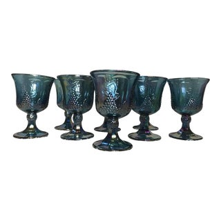 Indiana Carnival Glass Harvest Pattern Goblets - Set of 8