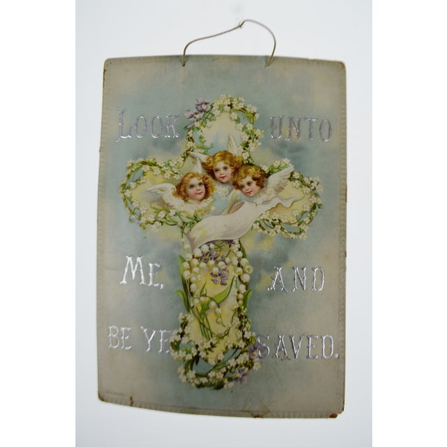Image of Victorian Wall Art Look Unto Me and Be Ye Saved Isaiah 45:22 Print on Board Made in Germany