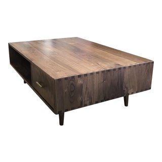Solid Walnut Coffee Table With Vintage Pulls