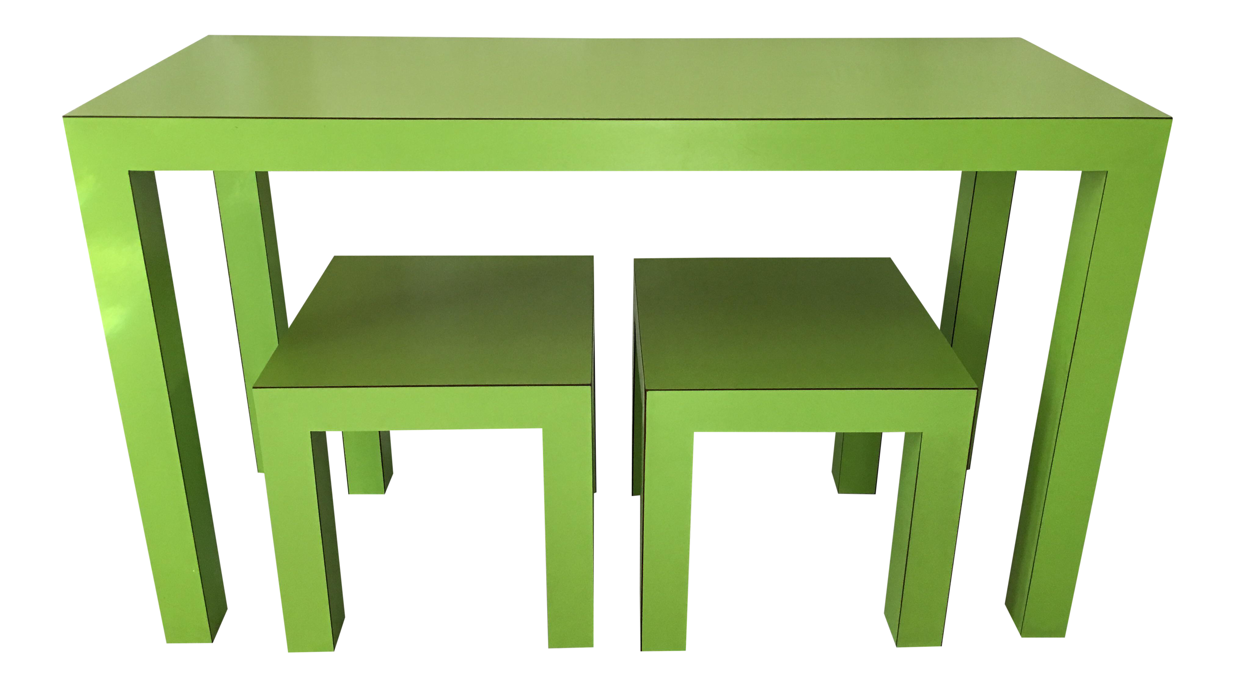mid century lime green parsons table