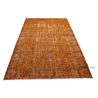 "Orange Overdyed Turkish Rug - 5'6"" X 9'2"""