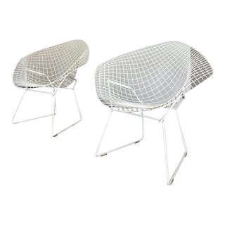 Vintage Harry White Bertoia Diamond Lounge Chairs - a Pair