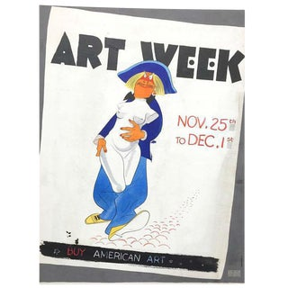 "Al Hirschfeld ""Art Week"" poster design, watercolor on paper"