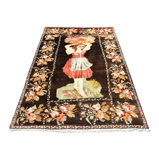 "Vintage Tribal Unique Handmade Girl Pictured Karabag Rug - 4'5"" X 6'6"""