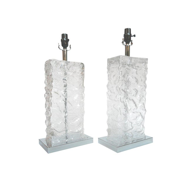 Modern Ice Cube Glass Table Lamps - A Pair - Image 1 of 8