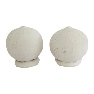 Vintage White Wood Architectural Round Ball Salvage Detail Finials - Set of 2