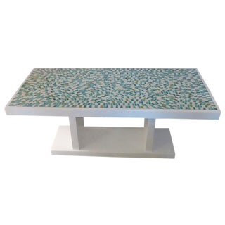 1960's Wood With Mosaic Tiles Coffee Table