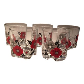 Vintage Italian Red & White Poppies Low Ball Glasses - Set of 5