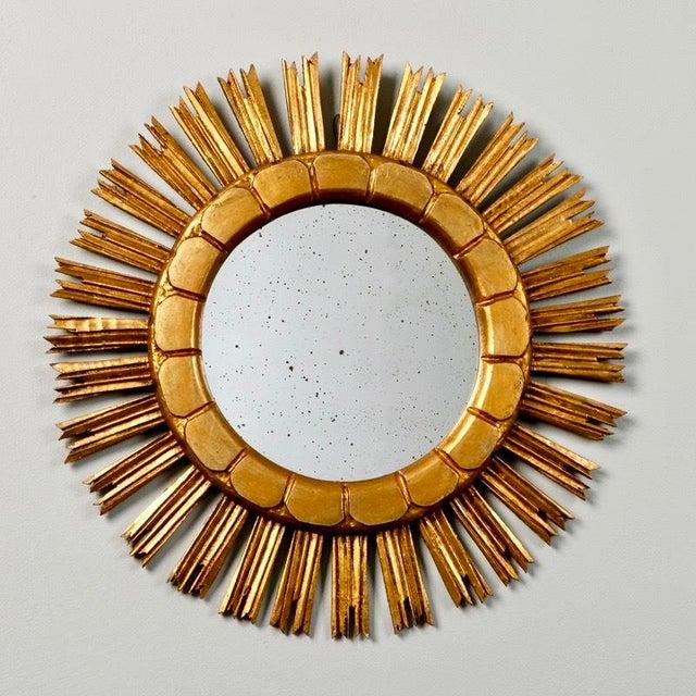 Mid-Century Medium Size Giltwood Sunburst Mirror - Image 2 of 7