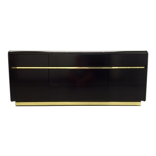 Lane Black Lacquer & Brass Detail Dresser