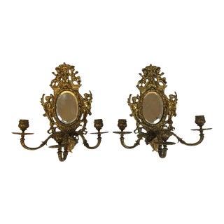 Antique English Brass Sconces - A Pair