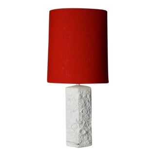 Mid-Century Bisque Porcelain Sculpted Shell Table Lamp with Red Shade